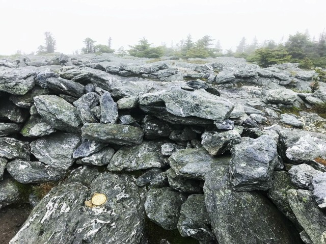 There was not much of a view from the summit of Mount Abraham.
