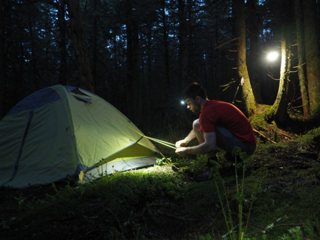 I set up the tent using a headlamp as dark fell.